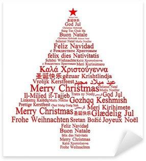 Sticker Pixerstick Joyeux Noël dans différentes langues formant un arbre de Noël