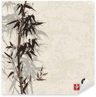 Pixerstick Sticker Kaart met bamboe op vintage achtergrond in sumi-e stijl. Hand-getekend met inkt. Bevat hiëroglief - geluk, geluk