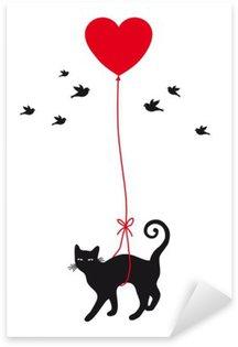 Pixerstick Sticker Kat met hart ballon, vector