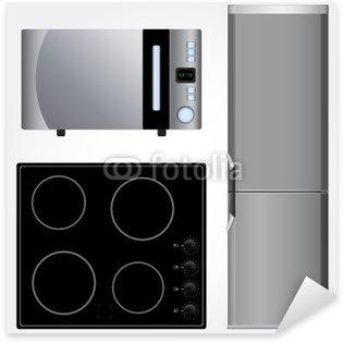 Pixerstick Sticker Keramische kookplaat, koelkast en magnetron vector