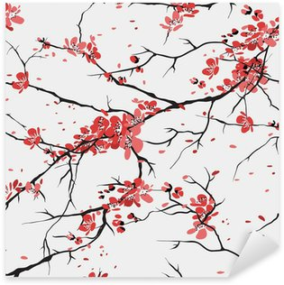 Pixerstick Sticker Kersen of sakura naadloze patroon achtergrond