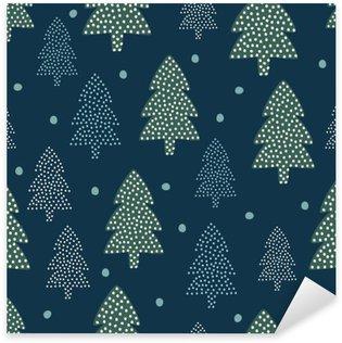 Pixerstick Sticker Kerst patroon - Xmas bomen en sneeuw. Gelukkig Nieuwjaar natuur naadloze achtergrond. Bos ontwerp voor de winter vakantie. Vector winter vakantie af te drukken voor textiel, behang, stof, behang.