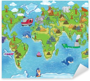 Pixerstick for All Surfaces kids world map