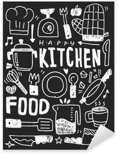 Kitchen elements doodles hand drawn line icon,eps10 Pixerstick Sticker