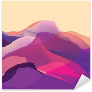 Pixerstick Sticker Kleur mountians, golven, abstract oppervlak, moderne achtergrond, vector design Illustratie voor je project