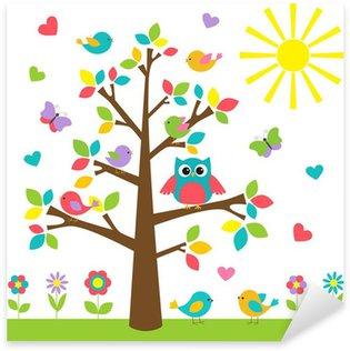 Pixerstick Sticker Kleurrijke boom met leuke uil en vogels