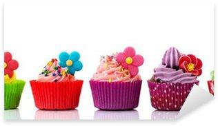 Pixerstick Sticker Kleurrijke cupcakes met bloemen