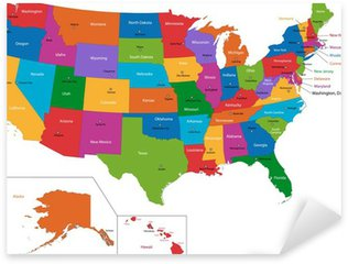 Pixerstick Sticker Kleurrijke kaart van de VS met staten en hoofdsteden