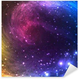 Pixerstick Sticker Kleurrijke Space Galaxy achtergrond met licht, Shining sterren en nevel. Vector Illustratie voor artwork, flyers partij, posters, banners.
