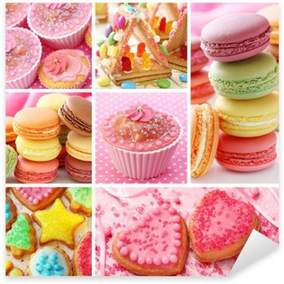 Pixerstick Sticker Kleurrijke taarten collage