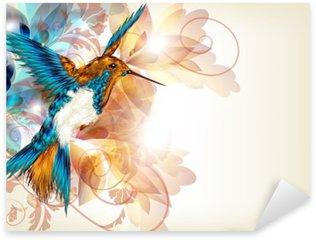 Pixerstick Sticker Kleurrijke vector design met realistische kolibrie en bloemen o