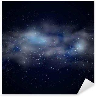 Pixerstick Sticker Kosmische ruimte hemel zwarte achtergrond met blauwe sterren nevel in de nacht vector illustratie