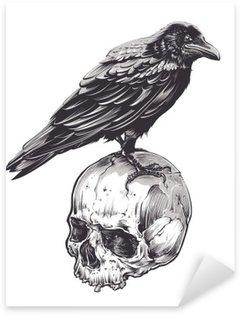 Pixerstick Sticker Kraai op Skull