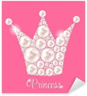 Pixerstick Sticker Kroon van de prinses Pearl achtergrond vector illustratie.
