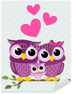 Sticker Pixerstick L'amour de la famille des hiboux