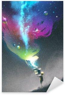 Sticker Pixerstick L'ouverture d'une boîte de fantaisie avec la lumière colorée et fantastique espace, illustration peinture enfant