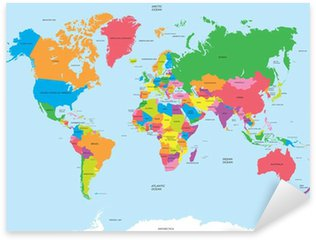 Sticker Pixerstick La carte politique du vecteur du monde