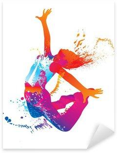 Sticker Pixerstick La jeune fille danse avec des taches colorées et éclaboussures sur fond blanc