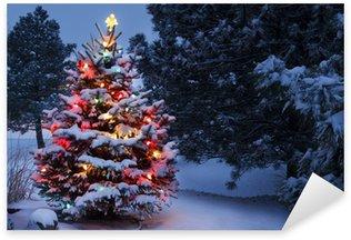 Sticker Pixerstick La neige a couvert Surexposition vacances d'arbre de Noël tempête hivernale