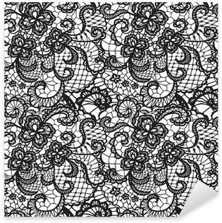 Lace black seamless pattern with flowers on white background Sticker - Pixerstick