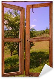 Pixerstick Sticker Landschap gezien door een raam
