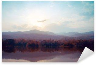 Pixerstick Sticker Landschap van het meer bergen in de herfst - vintage stijlen.