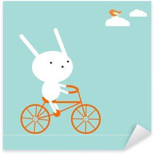 Sticker Pixerstick Lapin sur un vélo