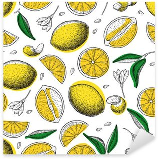Lemon vector seamless pattern. Drawing lemon colorful background Sticker - Pixerstick