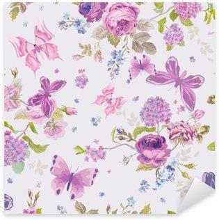 Pixerstick Sticker Lente bloemen achtergrond met Butterflies- Naadloze Floral Shabby