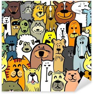 Sticker Pixerstick Les chiens et les chats