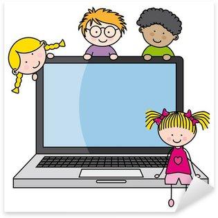 Sticker Pixerstick Les enfants avec un ordinateur portable