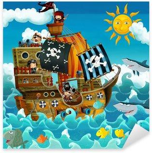 Sticker Pixerstick Les pirates sur la mer - illustration pour les enfants