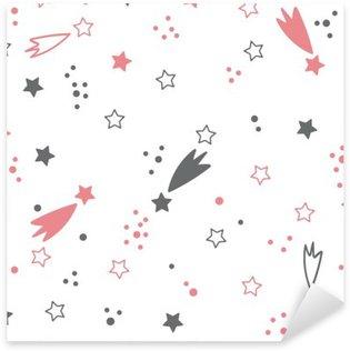 Pixerstick Sticker Leuk naadloos patroon met sterren. ruimte achtergrond