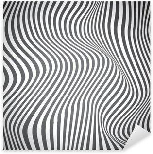Sticker Pixerstick Lignes courbes en noir et blanc, des ondes de surface, conception de vecteur