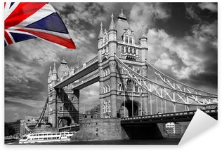 London Tower Bridge with colorful flag of England Sticker - Pixerstick