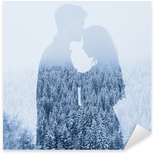 Sticker - Pixerstick love in winter, silhouette of couple on forest background, double exposure