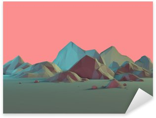 Low-Poly 3D Mountain Landscape with Pastels Sticker - Pixerstick