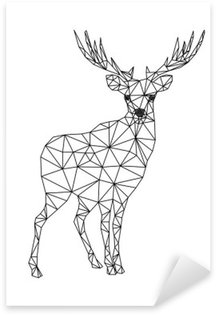 Sticker - Pixerstick Low poly character of deer. Designs for xmas. Christmas illustration in line art style. Isolated on white background.