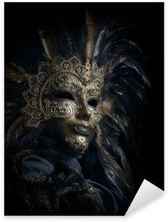 Sticker - Pixerstick luxurious venetian mask isolated on black