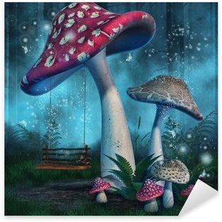 Sticker - Pixerstick Magiczny las z wysokimi grzybami i huśtawką