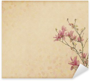 Pixerstick for All Surfaces magnolia flower with Old antique vintage paper background