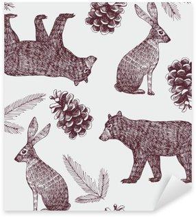 Sticker Pixerstick Main hiver dessiné de fond sans soudure à la mode