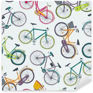 Sticker Pixerstick Main vecteur tracé seamless vélos de ville