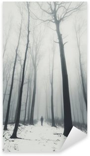 man in forest with tall trees in winter Sticker - Pixerstick