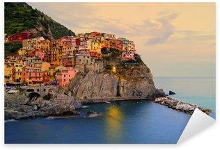 Sticker Pixerstick Manarola, Italie, sur la côte des Cinque Terre au coucher du soleil