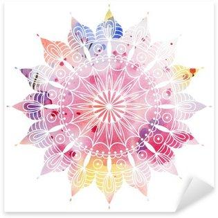 Sticker Pixerstick Mandala aquarelle colorée. Beau motif rond. Détail motif abstrait. Décoratif isolé.