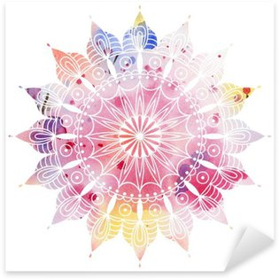 Mandala colorful watercolor. Beautiful round pattern. Detailed abstract pattern. Decorative isolated. Sticker - Pixerstick