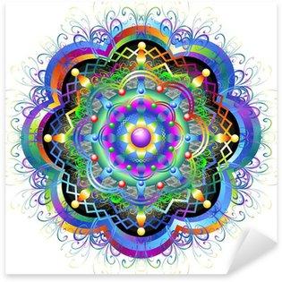 Sticker - Pixerstick Mandala Fiore Psichedelico-Mandala Rainbow Flower-Vector