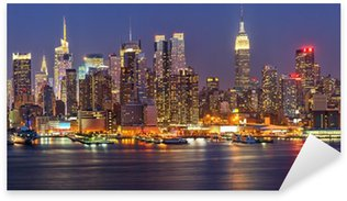 Manhattan at night Sticker - Pixerstick