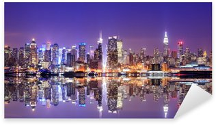 Pixerstick Sticker Manhattan Skyline met Reflections
